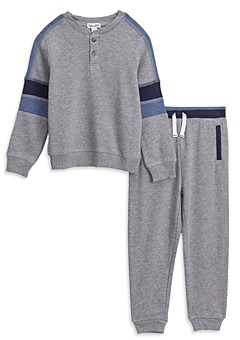 Splendid Boys' French Terry Long Sleeve Henley & Sweatpants Set - Little Kid