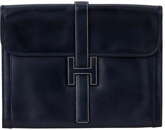 One Kings Lane Vintage Hermes Oversize Box Calf Jige Clutch - Vintage Lux