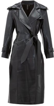 Norma Kamali Waist Tie Coated Jersey Trench Coat - Womens - Black