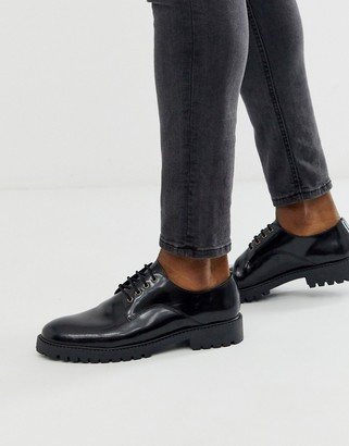 Office chunky lace up shoe in high shine black
