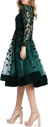 Mac Duggal Long Sleeve Fit & Flare Velvet Embellished Cocktail Dress