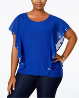 Belldini Plus Size Grommet Flutter-Sleeve Top