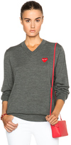 Comme des Garcons Wool Jersey Intarsia Red Emblem Sweater in Gray.