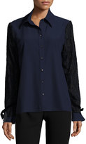 Alberto Makali Lace-Overlay Sleeve Button-Front Top, Navy