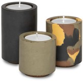 Concrete & Wax Concrete Tealight Trio Candle Holders With Soy Wax Tealights In Black Dpm Camo & Olive