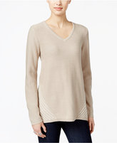 Style&Co. Style & Co. Cable-Knit V-Neck Sweater, Only at Macy's