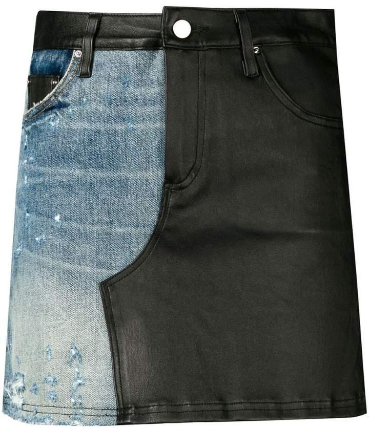mixed material mini skirt