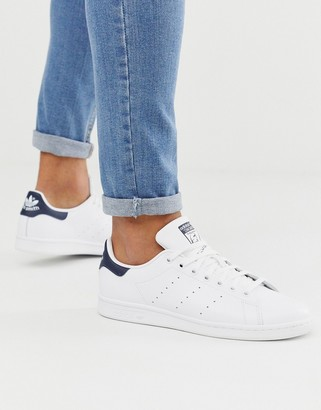 adidas Stan Smith leather sneakers in white and navy