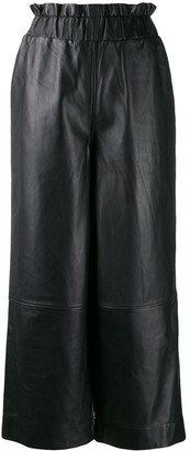 Ganni wide-leg leather trousers