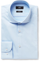 HUGO BOSS Blue Jerrin Slim-Fit Cutaway-Collar Cotton Shirt