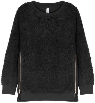 Varley Oakden Black Faux Shearling Sweatshirt