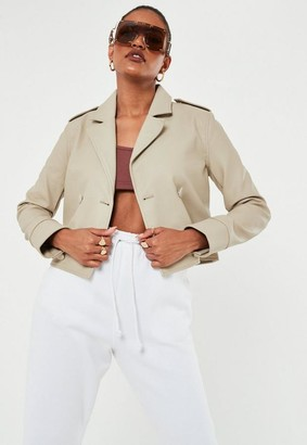 Missguided Stone Faux Leather Double Breasted Biker Jacket