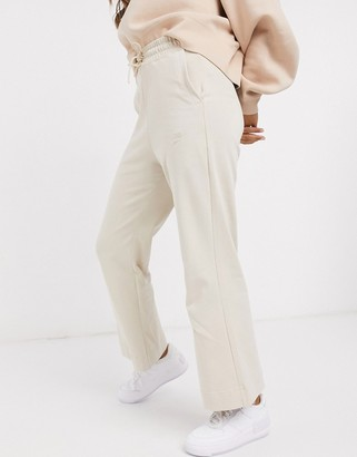 Nike Premium high-waist wide-legged trackies in oatmeal