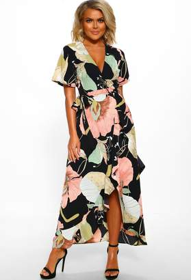 Pink Boutique Sweet Kisses Pastel Abstract Print Wrap Midi Dress