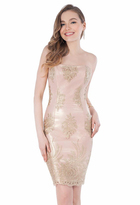 Terani Couture Sweetheart Embellished Gold Medallion Cocktail Dress 1621H1003