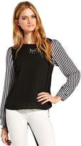 Teen Vogue Juniors Top, Long Sleeve Striped Colorblock