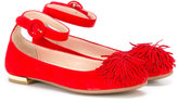 Aquazzura Mini - fringed trim ballerinas - kids - Goat Skin/Suede/rubber - 28
