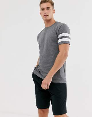 Asos Design DESIGN lounge pyjama short and tshirt set with stripe and branded waistband in charcoal marl-Gray