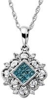 Lord & Taylor 14Kt. White Gold Necklace with Blue-Green Diamond Pendant