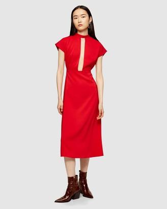 Topshop Plunge Tie-Neck Midi Dress