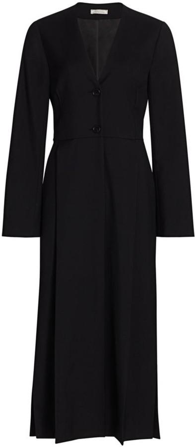 Nina Ricci Wool V-Neck Midi Dress