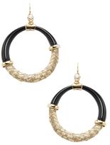 Alexis Bittar Woven Raffia Hoop Earrings