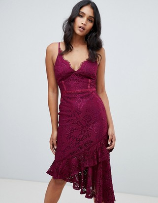 Lipsy lace asymmetric hem cami bodycon dress in purple