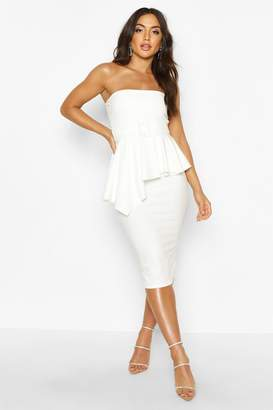 boohoo Bandeau Belted Peplum Midi Dress