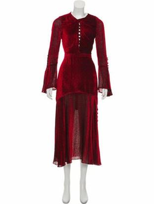Prabal Gurung Velvet Midi Dress Red