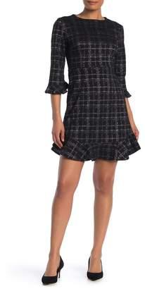 Nanette Lepore Plaid Print Ruffle Trim Dress
