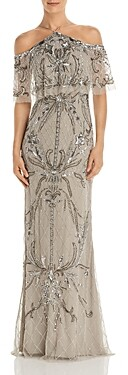 Aidan Mattox Cold Shoulder Beaded Gown