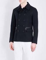 Sandro Faux leather-trimmed cotton-blend coat