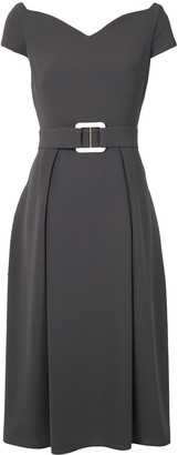 EDELINE LEE Belted Sweetheart-Neck Midi Dress
