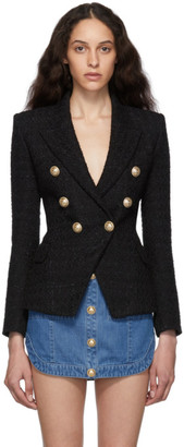 Balmain Black Tweed Six Button Blazer