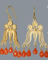 orange filigree bell earrings