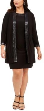 Jessica Howard Plus Size Sparkle-Trim Dress & Jacket
