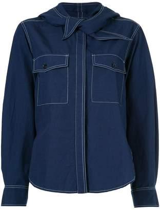 MAISON KITSUNÉ knot detail denim shirt