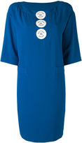 Moschino logo button shift dress - women - Polyester/other fibers - 44