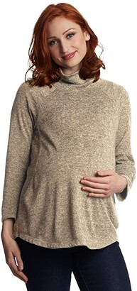 Everly Grey Teresa Maternity/Nursing Sweater (Heather Grey) Women's Clothing