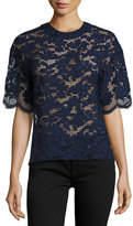 Prabal Gurung Short-Sleeve Lace Tee, Blue