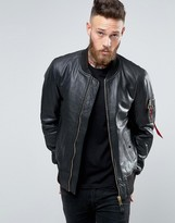 Alpha Industries Ma-1 Bomber Jacket In Leather Slim Fit Black