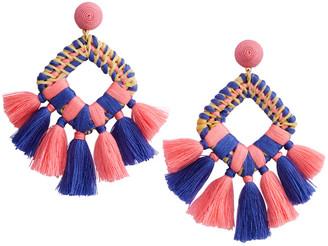 Vineyard Vines Square Basket Weave Tassel Earrings