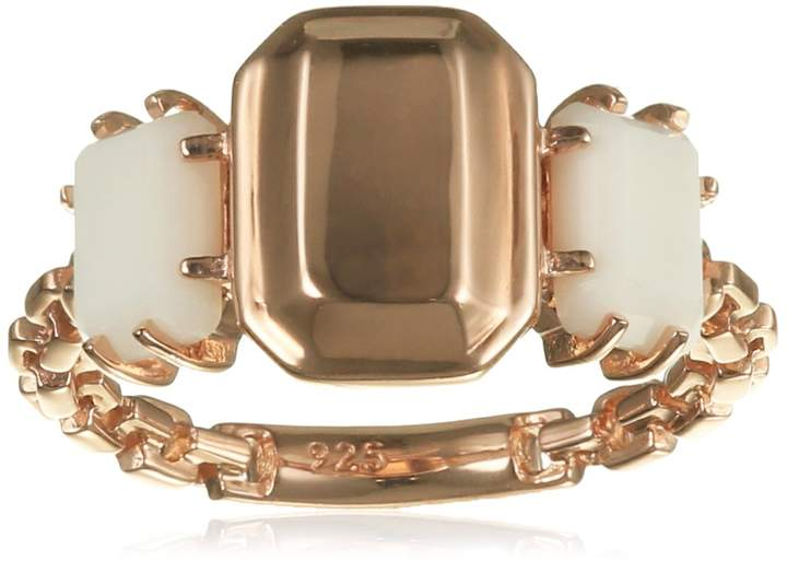 """Urban Classics Caï Cai Women""""s Ring 925 Sterling Silver with Agate WHITE-C1607R / 90/83 gold"""