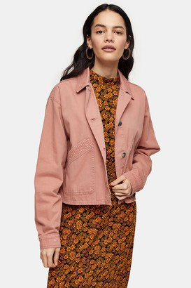 Topshop Womens Considered Pink Boxy Crop Shacket - Pink