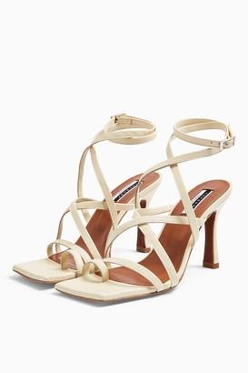 Topshop Womens Native Leather Buttermilk Toe Loop Sandals - Buttermilk