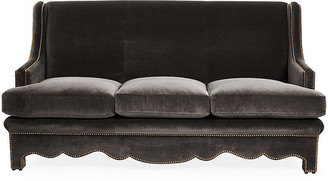 Bunny Williams Home Nailhead Sofa - Gray Velvet upholstery, gray; nailheads, bronze