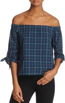 Bailey 44 Off-the-Shoulder Plaid Top