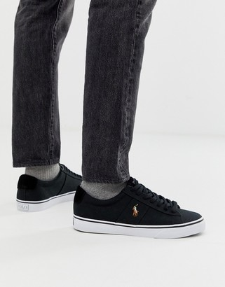 Polo Ralph Lauren sayer canvas sneaker with multi polo player in black