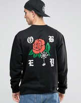 Obey Sweatshirt With Rose Back Print