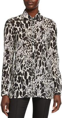 Saint Laurent Watercolor Leopard-Print Blouse